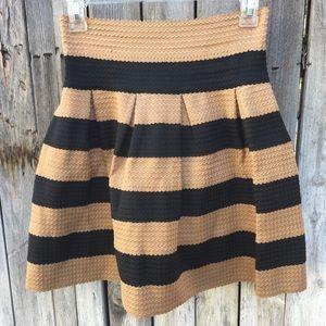 Neslay Striped Skater Skirt Camel/Black M